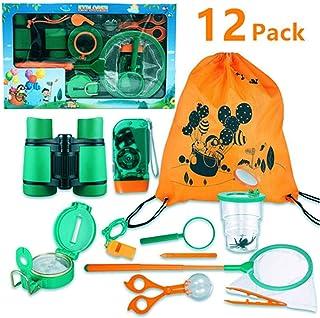 FUNCUBE Kit de Explorador al Aire Libre 12Pcs Juguetes de Juego de imaginación para niños y niñas Aventurero Binocular Exploration Fun Toy Kit para Camping y Senderismo
