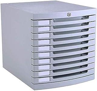Armoires plates verticales 10 tiroirs de rangement de données de bureau serrure à clé en plastique Gris 30 x 38 x 31,5 cm