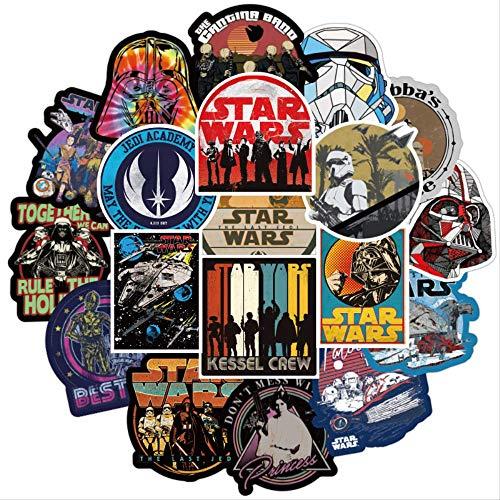 nobrand 100 Stück Set Laptop Notebook Aufkleber Star Wars Figuren Yoda Darth Vader wasserdichte Aufkleber für Skateboard Gepäck Gitarre Aufkleber