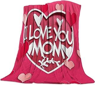 Advancey I Love You Mom Flannel Fleece Throw Blanket Lightweight Cozy Bed Sofa Blankets Super Soft Fabric,39x49 inch
