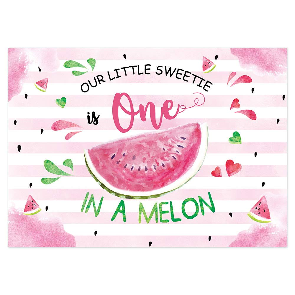 New Watermelon Themed Girl First Birthday Photo Studio Background Pink Princess 1st One in a Melon Birthday Summer Fruit Party Decorations Banner Photography Backdrops for Dessert Table 7x5ft