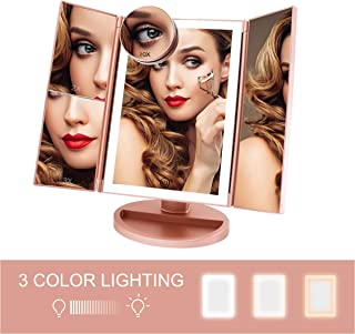 FASCINATE Trifold Lighted Makeup Mirror 3 Color Lighting 36 LEDs Makeup Vanity Mirror with 10X/3X/2X/1X Magnification, Cord & Cordless, 180°Rotation Portable High-Definition Cosmetic Mirror Rose Gold