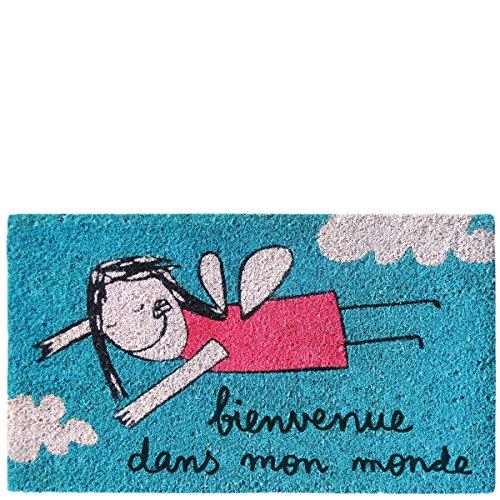 Laroom Felpudo diseño Bienvenue Dans Mon Monde, Jute & Base Antideslizante, Azul, 40x70x1.8 cm