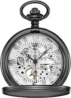 Lwieui Reloj de Bolsillo Reloj de Bolsillo Hueco Tallado Clamshell Mechanical Roman Classic Machinery Black (Color : Whit...
