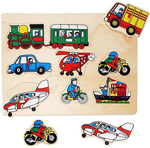 alles-meine.de GmbH Steckpuzzle mit Griffen -  Fahrzeuge - Auto & Eisenbahn  - aus Holz - 9 Teile - großes Holzpuzzle / Einlegepuzzle - Griff Legespiel - Rahmenpuzzle / Kinderp..