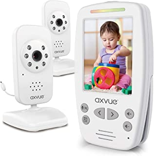"AXVUE E662 Video Baby Monitor with Two Cameras and 2.8"" LCD Night Vision Night Light Temperature Detection 2-Way Talk VOX ..."