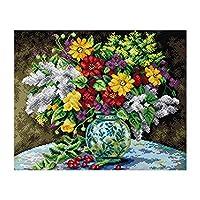 Bhuuno 1セットの布クロス花瓶パターンが印刷されたスタンプクロスステッチキット -