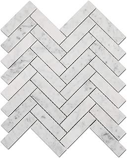 Diflart Carrara Italian White Carrera Marble Herringbone Mosaic Tile 5 Sheets/Box (1x4 inch Herringbone, Polisehd)