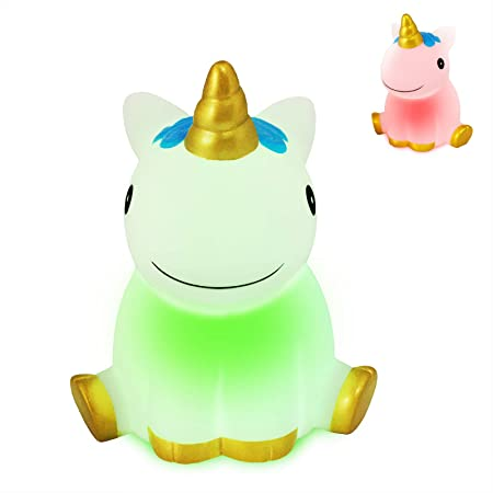 Fundoo Unicorn Night Light for Kids Bedroom, Light Up Cute Unicorn Gifts Color Changing Light for Girls, Battery Operated LED Nursery Lamp Decoration