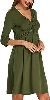 Womens Casual Party Midi Dress 3/4 Sleeve V Neck Twist Knot Front Flowy Empire Waist Tank Dress