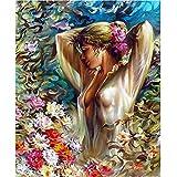 動物セクシーな女性キット大人のための数字による油絵数字によるペイントキャンバス絵画40x50cm /フレームなしDIYギフト家の装飾