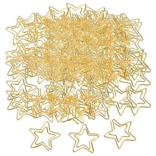 chiwanji 120pcs Star Paper Clips Documentos Organizador Titular Accesorio de Oficina Cinco Puntos Star Stationery Clips de Metal para Manualidades DIY Golden 2