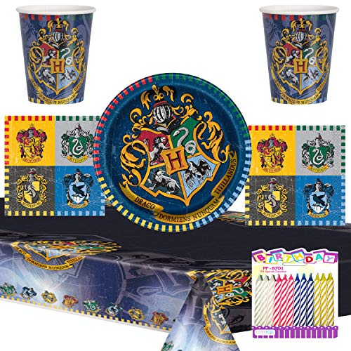 Harry Potter Party Supplies Pack Serves 16: Dessert Plates Beverage Napkins Cups and Table Cover with Birthday Candles (Bundle for 16)