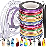 64 Rolls Nail Striping Tape Line, FANDAMEI 32 Colors Striping Tapes Line Adhesive Sticker with 2PCS Nail Tape Roller Dispensers, 1PCS Nail Art Tweezers. Nail Art Decoration Sticker DIY Nail Tip