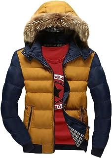 YuanDian Uomo Invernali Imbottito Cappotto con Cappuccio Collare in Eco-Pelliccia Addensare Caldo Impermeabile A Prova di ...