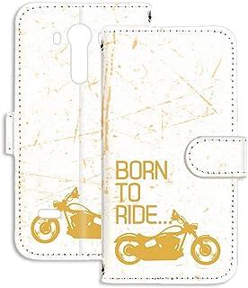 LG isai vivid LGV32 用 手帳型 ミラータイプ スマホケース ビンテージ バイク・イエロー ビンテージ モーターサイクル エルジー イサイ ビビッド au スタンド スマホカバー 携帯カバー FFANY bike 00r_14...