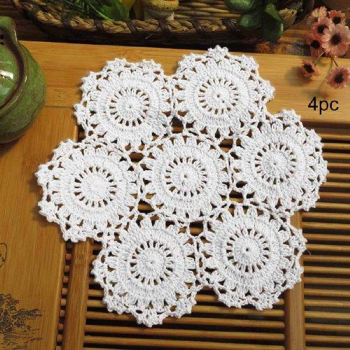 Kilofly uncinetto centrini pizzo in cotone, confezione da pezzi, fiori, 25,4cm, Cotone, White, 10 pollici