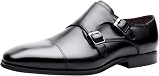 Santimon Chaussures Monk Homme Cuir Slip on Loafer Cap Toe Derby Business Oxford Chaussure à Boucle de Ville Noir Marron
