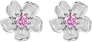 Madeone Gifts for Mothers Day 18K White gold Plating 925 Sterling Silver Cubic Zirconia Cherry Blossom Flower stud earring...