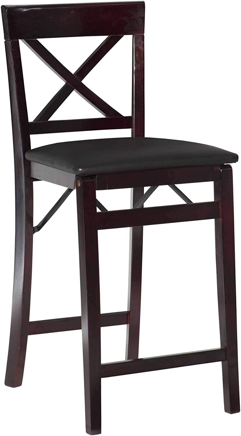 Linon New arrival Triena X Back Brown In a popularity Folding Stool Counter