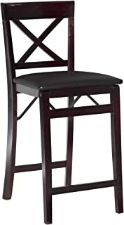 Linon Triena X Back Folding Counter Stool, Brown