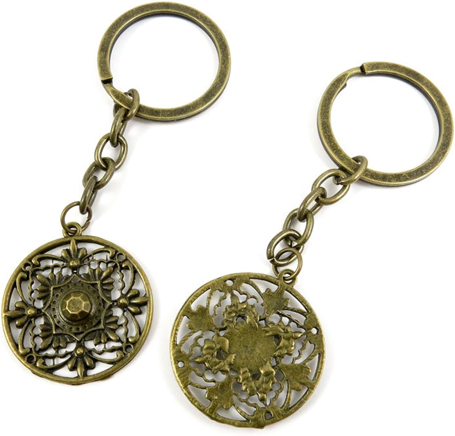 100 PCS Keyrings Keychains Key Ring Chains Tags Jewelry Findings Clasps Buckles Supplies H6ND7 Round Flower Signs