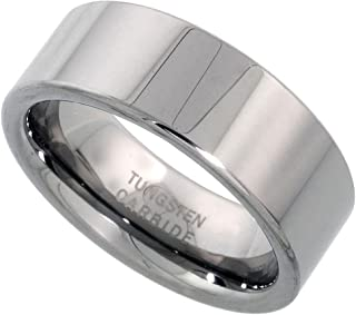 Tungsten Carbide 8 mm Pipe Cut Wedding Band Ring for Men and Women Polished Comfort fit, Sizes 7 to 14