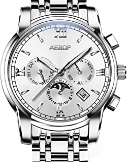 Aesop Fashion Business Men Day Date Analog Automatic Self Winding Mechanical Moon Phase Wrist Watch with Steel Band Luminous Silver White