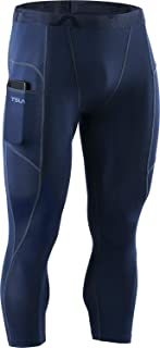 TSLA Men's 3/4 Compression Pants, Running Workout Tights, Cool Dry Capri Athletic Leggings, Yoga Gym Base Layer (Pack of 1...