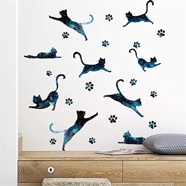 EdC DIY Cartoon Cute Cats Painting Wall Stickers Removable Wallpaper Lovely Wall Decoration Romantic Sweet For Living Room Nursery Kids Bedroom TV Wall Decal Home Art Vinyl Mural Decor