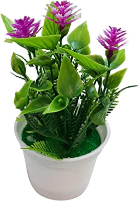 Inditradition Artificial Orchid Flower Bouquet with Vase | for Home & Party Decoration, Purple Silk Flower