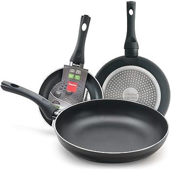 Metaltex Easy-Lote 3 Sartenes Aluminio 20+24+28 cm. Mango Soft Touch y Doble Capa Antiadherente. Full Induction, Negro: Amazon.es: Hogar