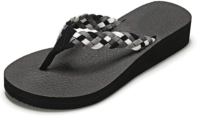 Fanxu Flip-Flops, Women's Summer Slippers, Wedges, Flip-Flops, Non-Slip Slippers (3 colors, 6 Yards) (color   Black, Size   37)