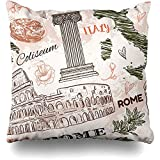 WHEYT Funda de Almohada de Tiro 55X55 cm Roma Vintage Style Style Coliseum Set Anfiteatro Retro Italia Columna Monumentos históricos Texturas Funda de cojín Antiguo