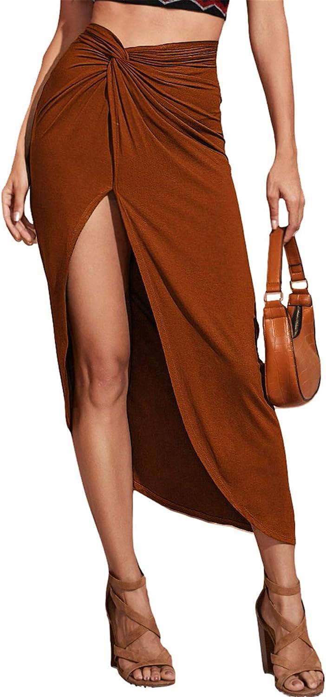 SOLY HUX Women's Elastic High Waist Twist Front Split Side Skirt Brown M