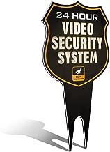 Warning 24 Hour Video Surveillance Security Camera System in Operation Metal Yard Sign | Stylish Laser Cut Shield Design | Heavy Duty 1/8