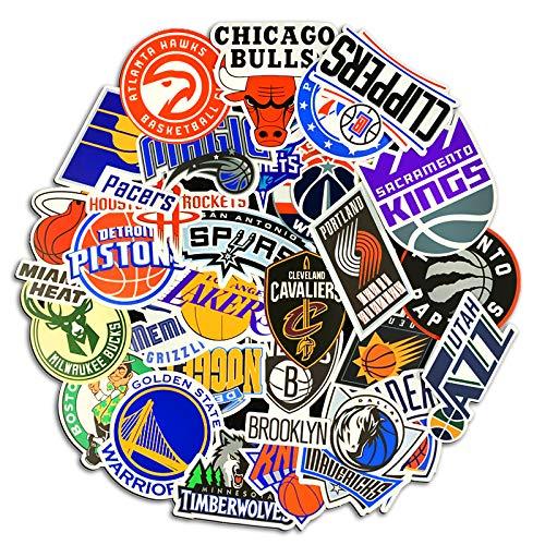 CHENX Pegatina de la NBA Jordan Kobe Lakers Warriors Logotipo del Equipo de Baloncesto Marcador de Equipo Pegatinas de máquina de computadora Pegatinas de Equipaje 31 Hojas