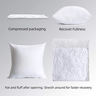Calibrate Timing Throw Pillow Inserts, 4 Packs Hypoallergenic Square Form Cushion Stuffer, Decorative Pillows Couch Sham Fill