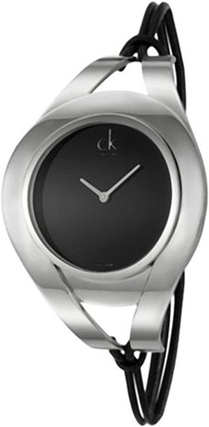 Calvin Klein K1B33102 - Reloj analógico de Cuarzo para Mujer con Correa de Piel, Color Negro
