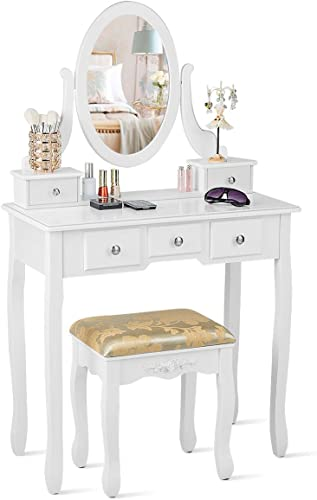 wholesale CHARMAID Vanity Table Set with Rotatable Oval Mirror, Bedroom Makeup Table with 5 Drawers for popular Women outlet online sale Girls, Dressing Table with Cushioned Stool (White) outlet online sale