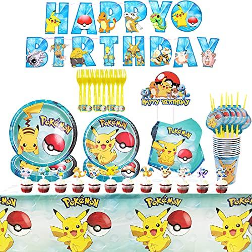Pikachu Party Supplies Set - Tomicy 71PCS Decoración de la Fiesta de cumpleaños Infantil de Vajilla Cumpleaños Mantel Tenedores Cuchillos Platos de Suministros de Fiesta de Carnaval