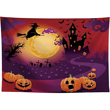 Laeacco Halloween Background 5x7ft Abstract Pumpkin Color Vinyl Photography Backdrop Terror Tree Silhouettes Frame Blur Color Thanksgiving Hallowmas Party Decor Autumn Holiday Portrait Shoot Poster