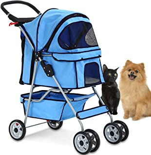 4 Wheels Pet Stroller Cat Dog Cage Stroller Travel Folding Carrier with Cup Holders and Removable Liner for Small-Medium Dog, Cat