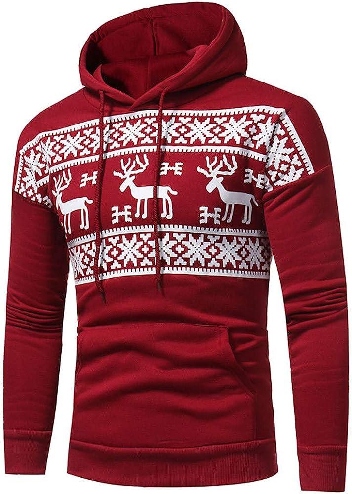 Christmas Hoodies for Men Pullover Lightweight, F_Gotal Unisex Deer Long Sleeve Hoodies Casual Hooded Pullover Outwear