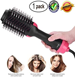 Hot Air Brush, One Step Hair Dryer & Styler & Volumizer Multi-functional High-power 3-in-1 Salon Negative Ion Hair Straightener & Curly Hair Comb for All Hair Type with Anti-Scald Feature (1 pack)
