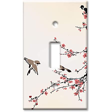 Art Plates Brand Single Gang Toggle Switch Wall Plate Birds On A Cherry Blossom