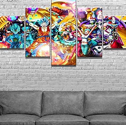 5 Piezas Lona Murales Cuadro Moderno Lienzo Pintura De Cartel De Anime Arte Pared Alta Definición Pintura Decorativa Home Dormitorio Óleo Lona Pintura Mural Regalos(Enmarcado)