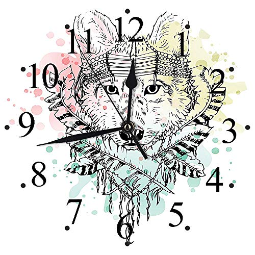 Yaoni Wall Clock 12' Silent Non Ticking,Abstract,Wild Brave Tribal Animal Wolf with Rainbow Colorful Backdrop and Sketchy Image,Decorative Modern Wall Clock for Living Room, Bedroom and Kitchen