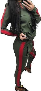 KAIXLIONLY Women Stripe Patchwork Sweatsuit Hooded Sweatshirts and Skinny Jogging Sweatpants Couple Set Zipper Outfits