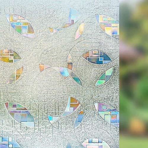 Farbige runde Glasfolie,elektrostatische Selbstklebende mattierte Vinylfensterfolie,undurchsichtige Sichtschutz- und Fensterdekorfolie H 50x200cm